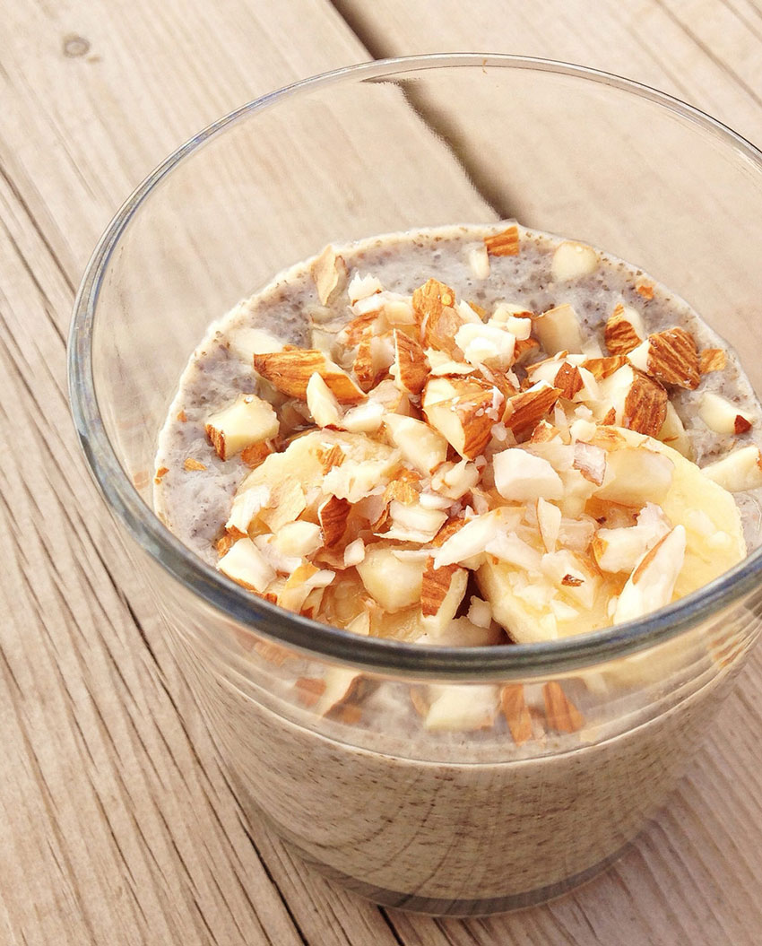 Yummy and Healthy Chia Seed Pudding with Almonds & Banana.